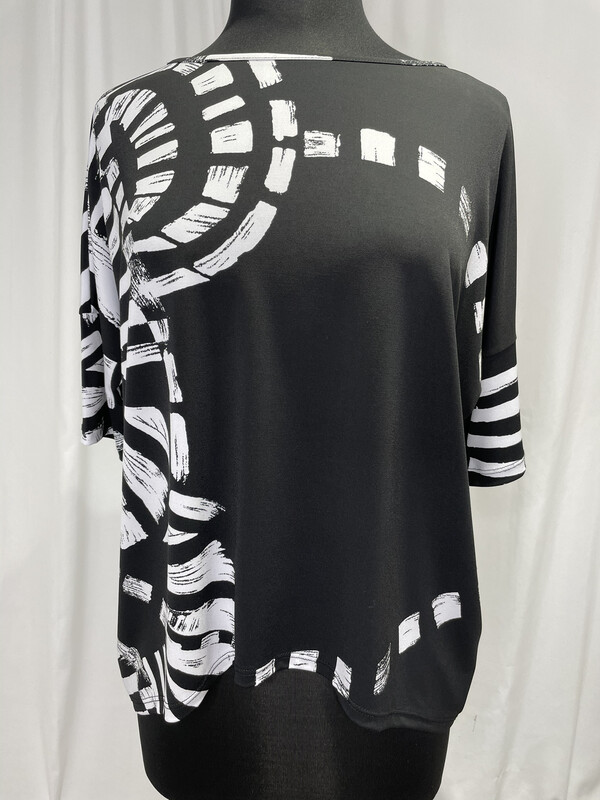 Clara Sun Woo Black White Abstract Print Top