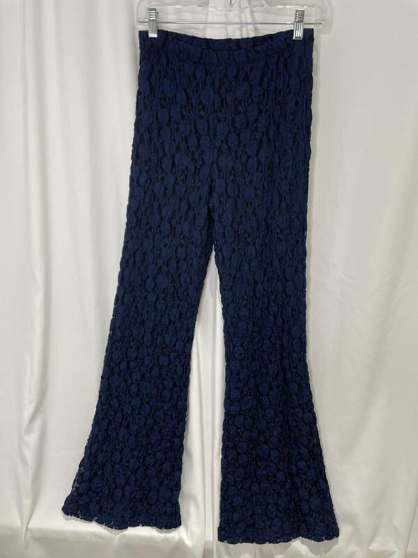 Andria Lieu Navy Dots Lace Wide Leg Pants