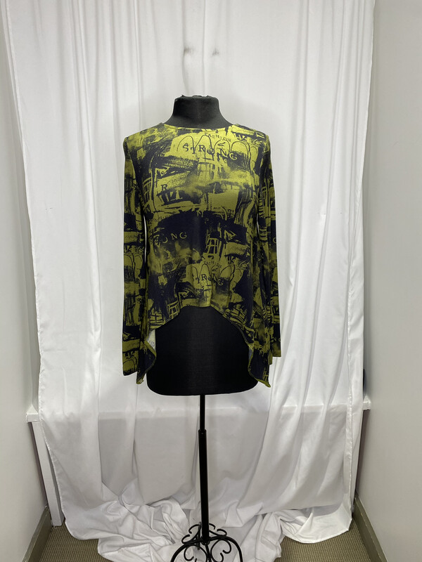 Ever Sassy Green Print Asymmetrical Top