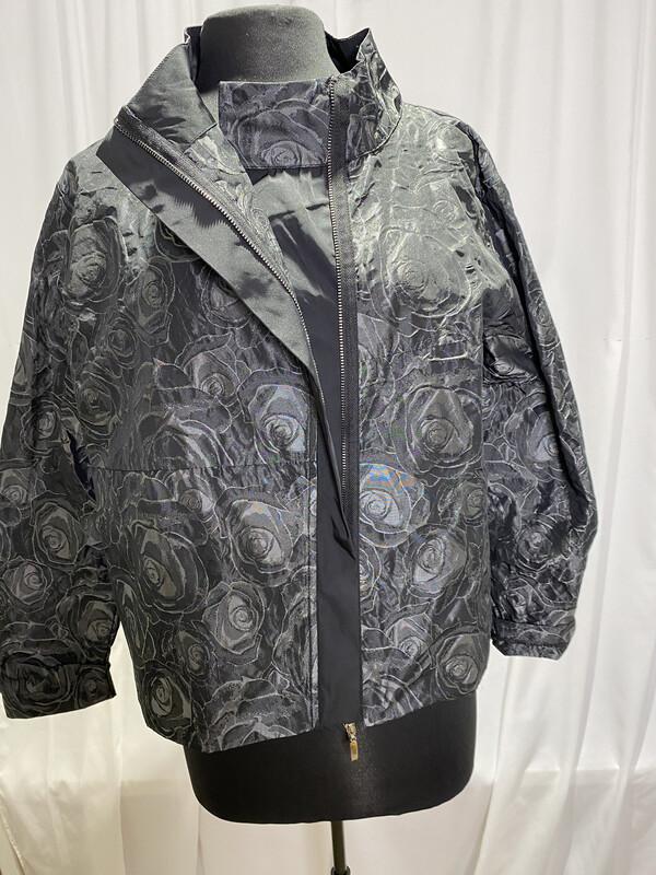 Ever Sassy Black Textured Floral Jacket