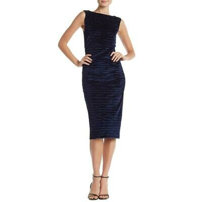 Nicole Miller Navy Textured Velvet Dress