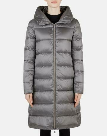 Save the Duck Hooded Long Quilted Puffer Coat with Stand Up Collar