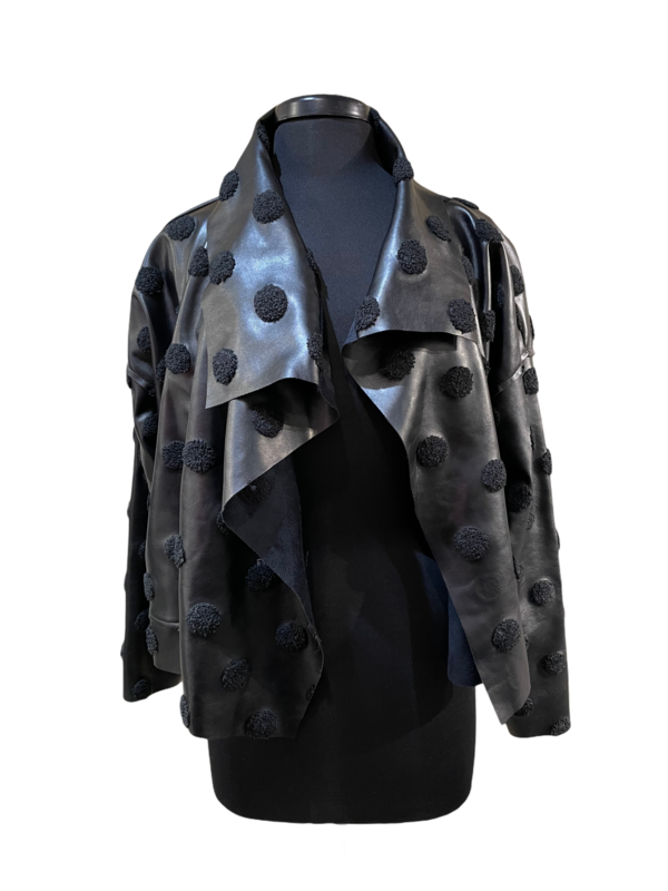 Planet Fuzzy Dots Asymmetrical Vegan Leather Jacket