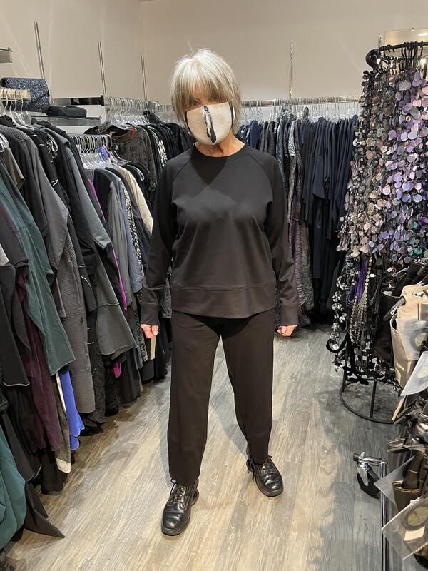 Anni Kuan Black Lux Lounge Ponte Tulip Pants