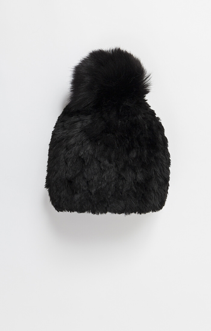 Winter Black Faux Fur Beanie