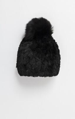 Winter Black Faux Fur Beanie