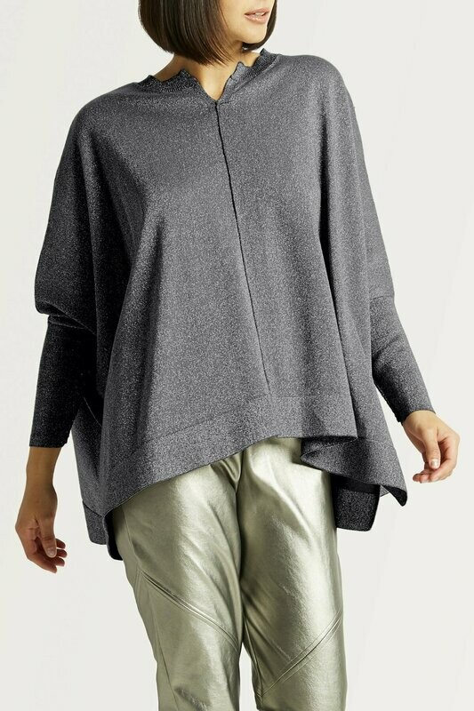 Planet Pima Cotton Metallic Swing Vneck Sweater