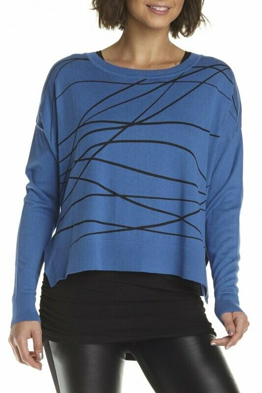 Planet Pima Cotton Scribble Crop Crew Sweater