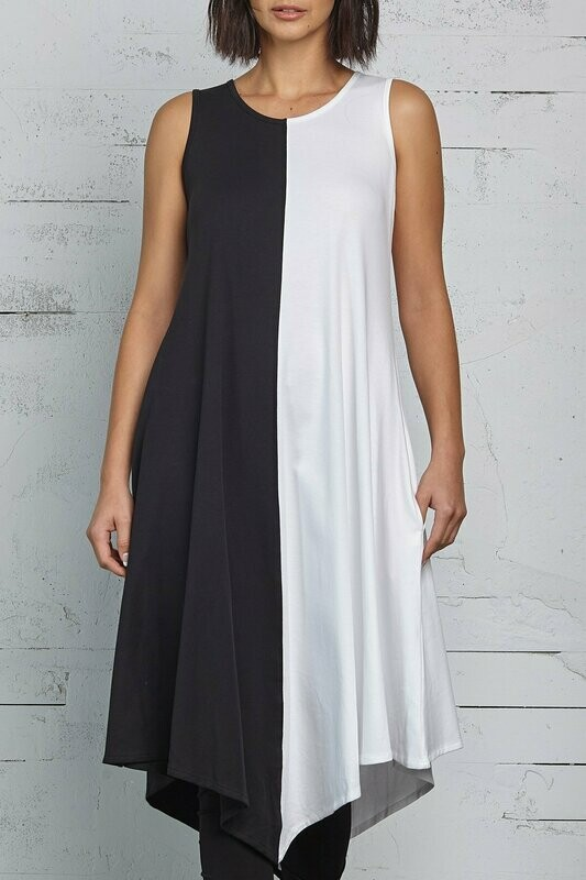 Planet Black And White Sleeveless Dress