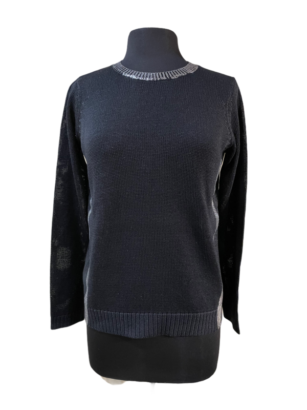 Peace of Cloth Black with Silver Foil Cotton Sweater