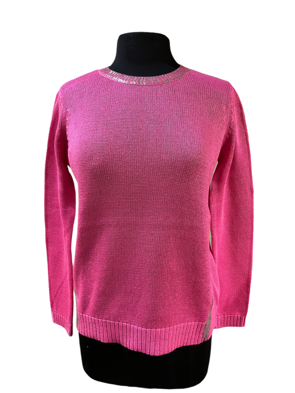Peace of Cloth Pink with Silver Foil Cotton Sweater