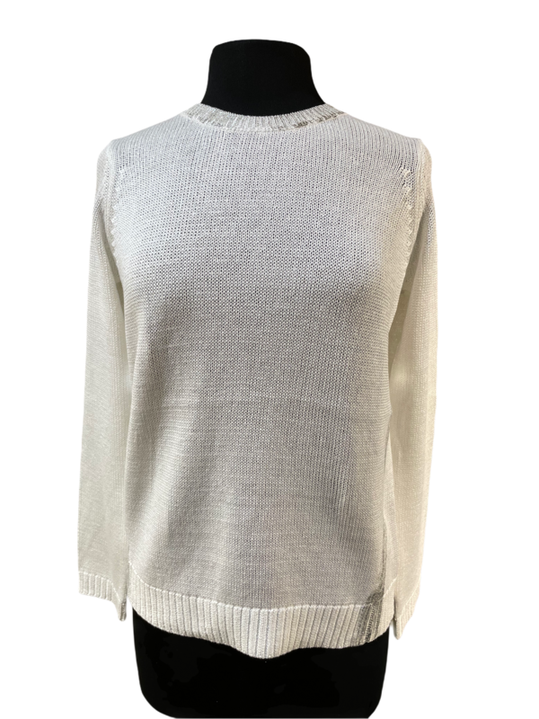 Peace of Cloth White with Silver Foil Cotton Sweater