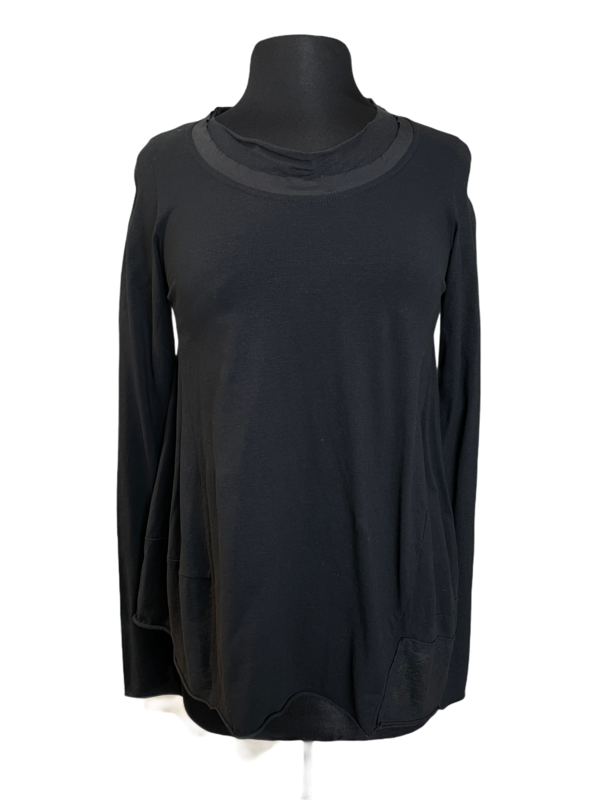 Studio Rundholz Black Mesh Neck Asymmetrical Top