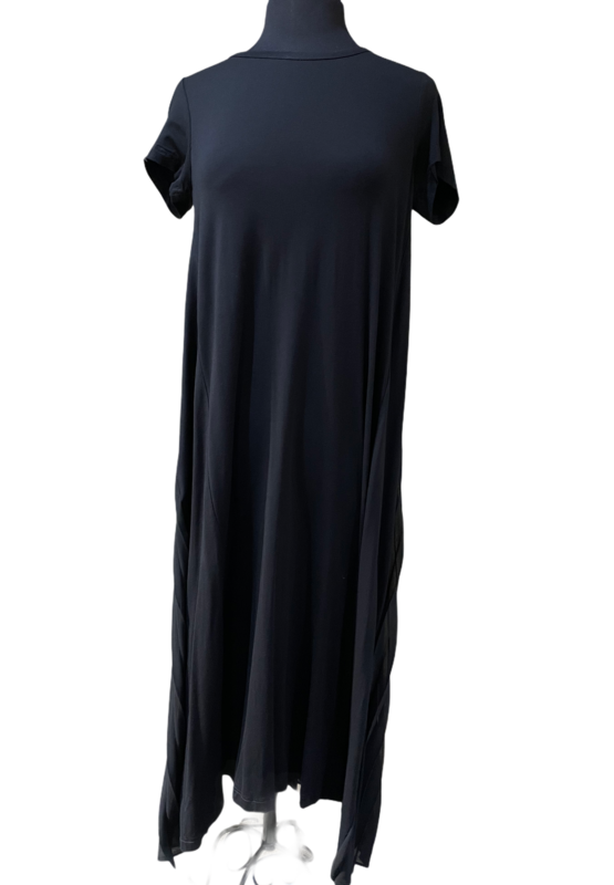 Studio Rundholz Black Pleated Chiffon Back Tshirt Dress