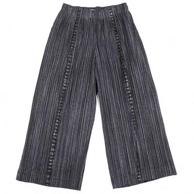 Pleats Please Issey Miyake Charcoal Denim Print Pants