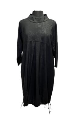 Ever Sassy Black Mockneck Scribble Dress