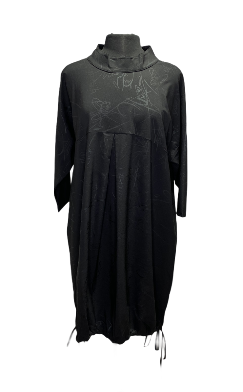 Ever Sassy Black Mockneck Scribble Dress