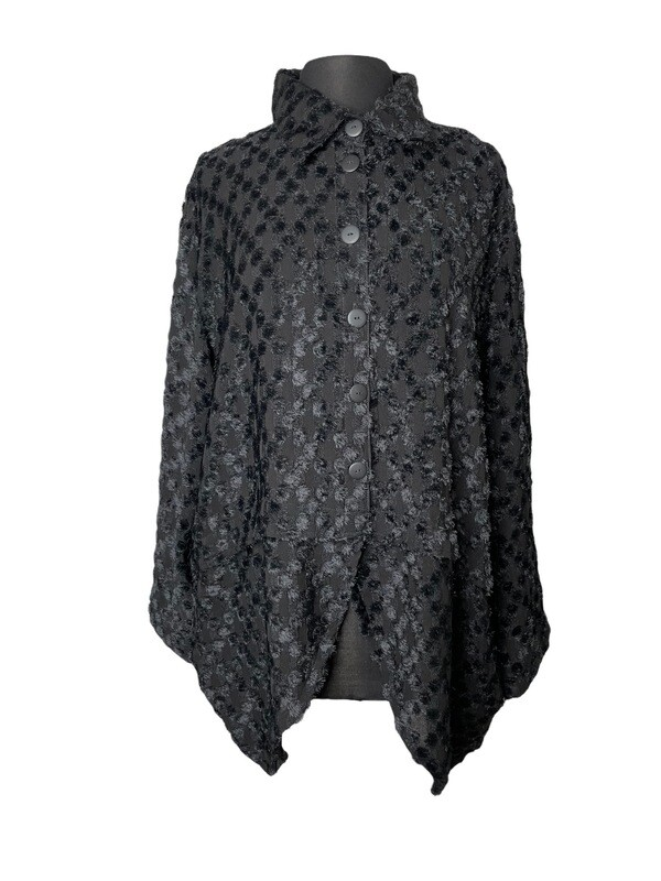 Dress to Kill Black Fuzz Scallop Shirt