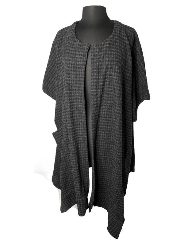 Dress to Kill Black Charcoal Check Kimono Jacket