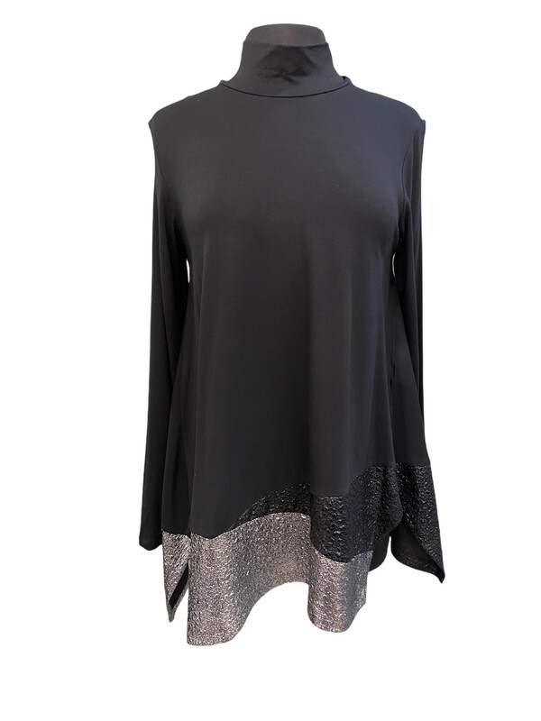 Alembika Black Turtleneck Swingy Top Sparkly Hem