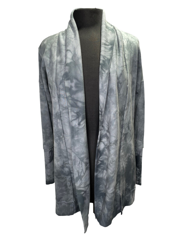 Annie Turbin Green Gray Tie Dye Cardigan