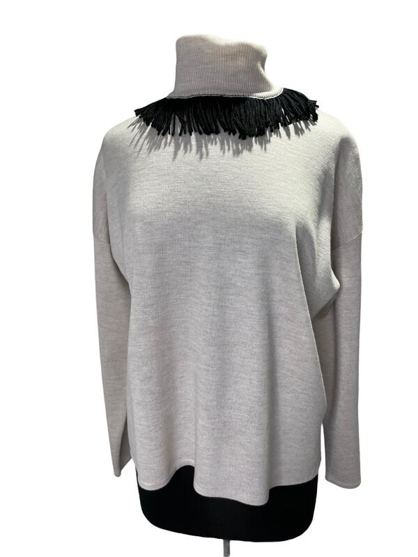 Bitte Kai Rand Fringe Sweater  Ivory/Black Fringe