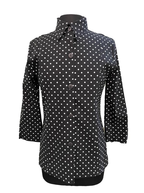 Pure Amici Shirt Jacket Black w/White Dot