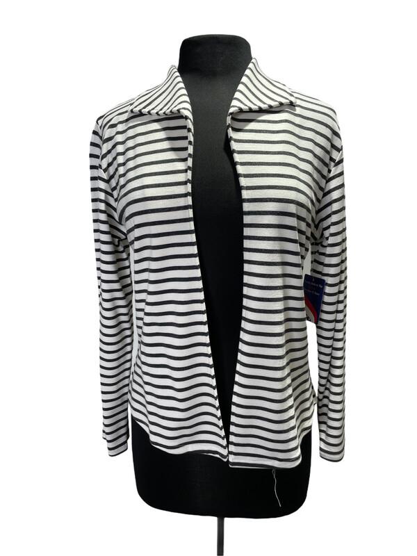 Andria Lieu Arden Jacket Gray/White Horizontal Stripe