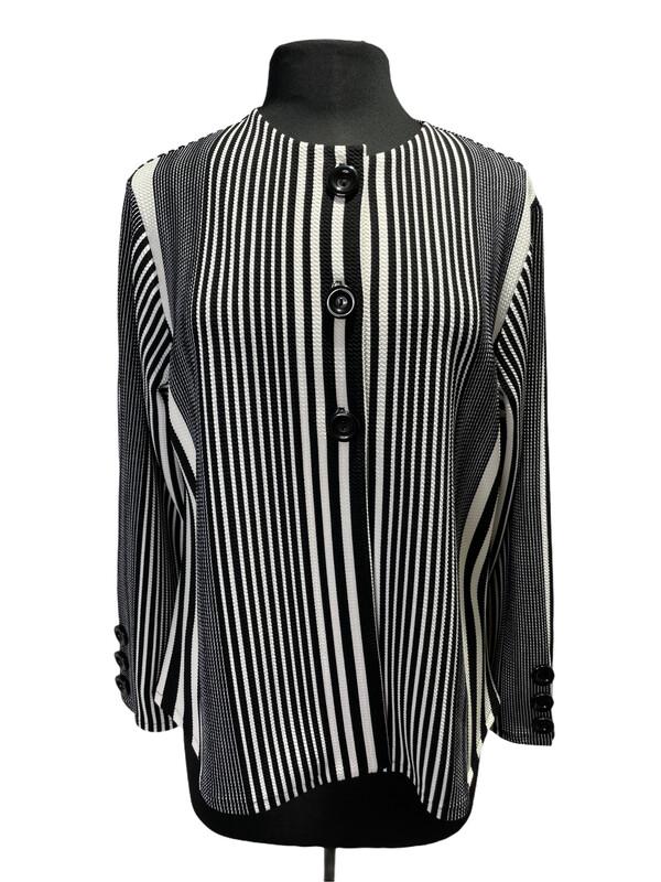 Andria Lieu Zara Jacket Black/White Vertical Stripe
