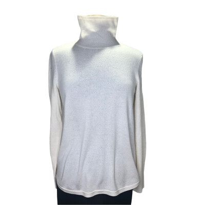 Belford Cashmere Mock Turtle With Zipper Side Detail Ivory