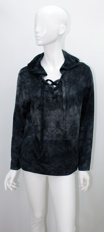 French Kiss Lace Up Hoody Onyx
