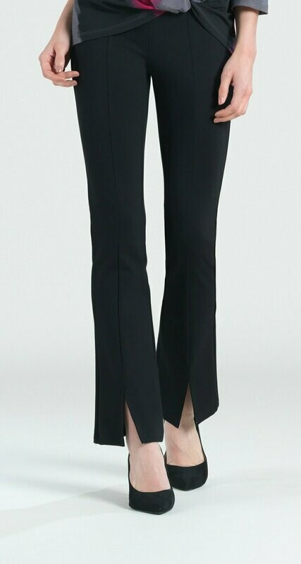 Clara Sun Woo Black Ponte Kick Front Slit Pant