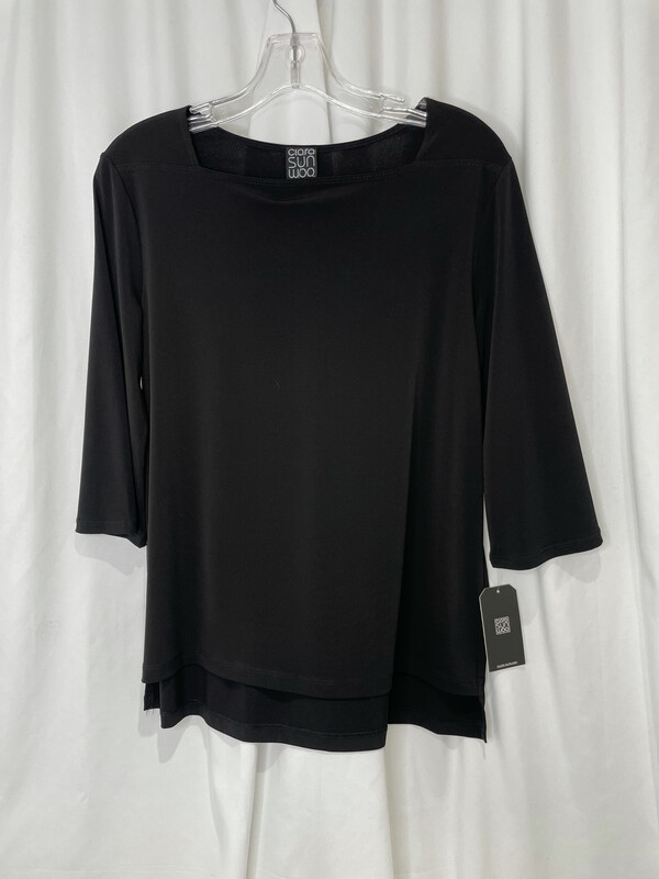 Clara Sun Woo Black Square Neckline Top