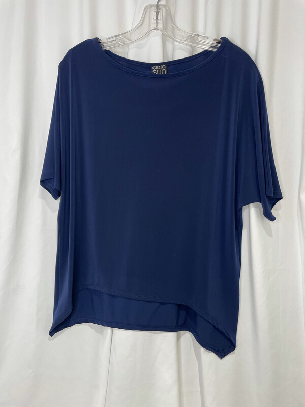Clara Sun Woo Navy Curved Hem Top