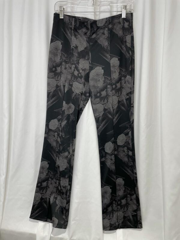 Clara Sun Woo Gray Multi Floral Front Slit Pant