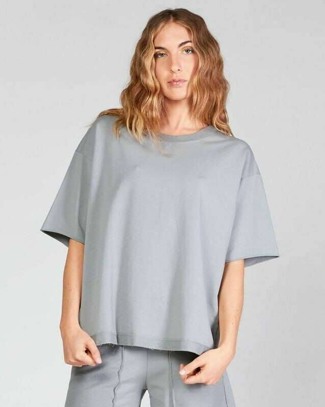 Baci Gray Raw Edge Sleeve Tee