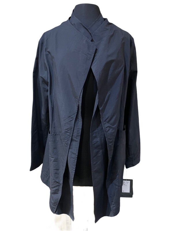 Moyuro Black Nylon Long Open Jacket