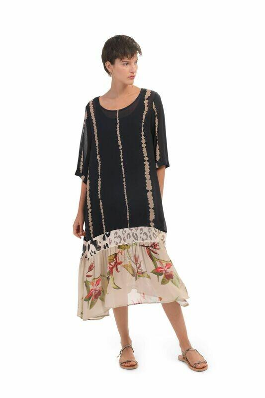 Alembika Tropical Cheetah Print Dropped Hem Dress