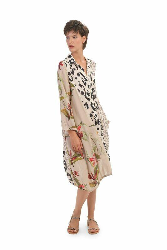 Alembika Tropical Cheetah Print Button Down Dress