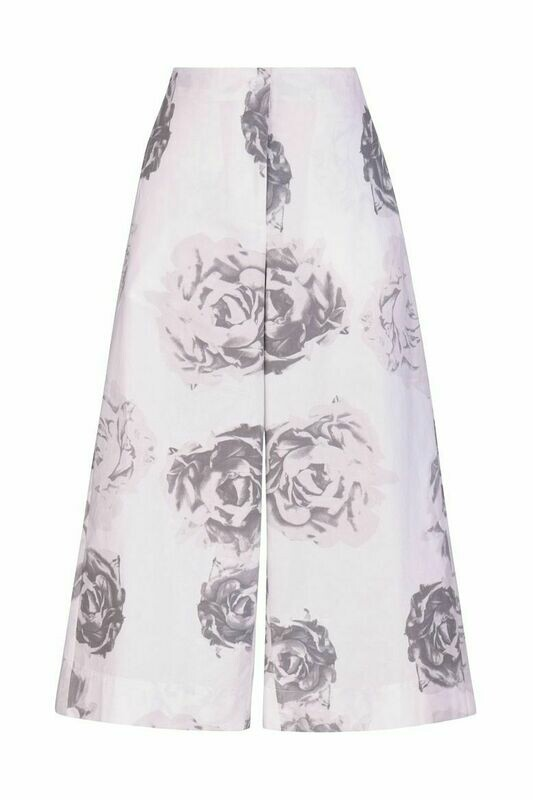 Alembika Cotton Rose Print Cropped Pant