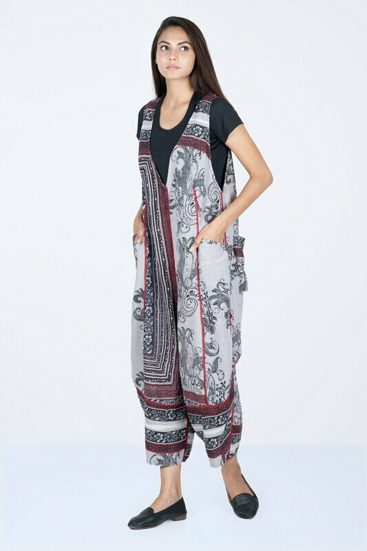 Mieko Mintz Cotton Paisley V-Neck Jumpsuit