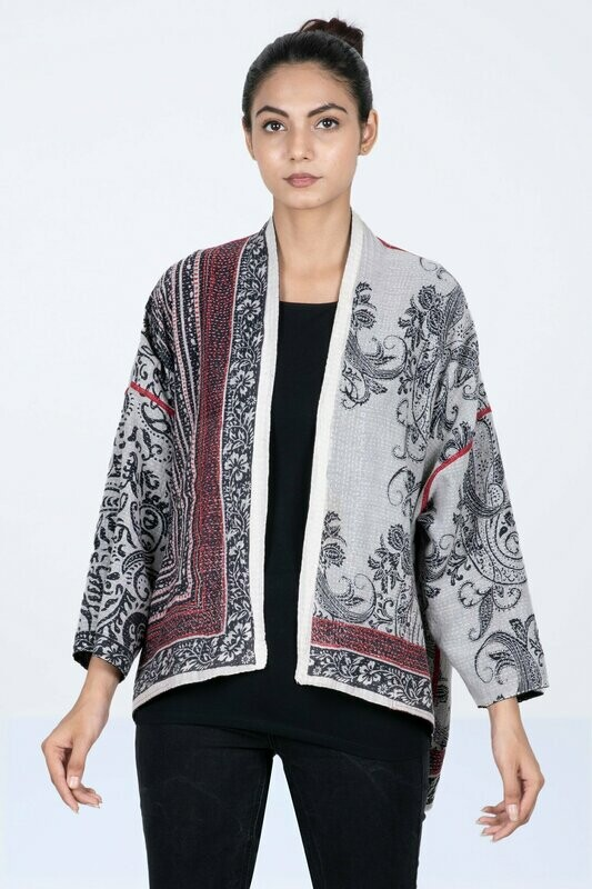 Mieko Mintz Cotton Paisley Mini Kimono Jacket