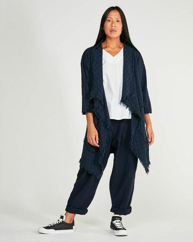 Baci Navy Print Frayed Cotton Open Long Cardigan