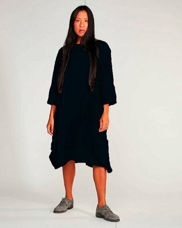 Baci Navy Boatneck Linen Blend Long-sleeves Dress