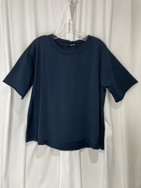Baci Navy Raw Edge Sleeve Tee