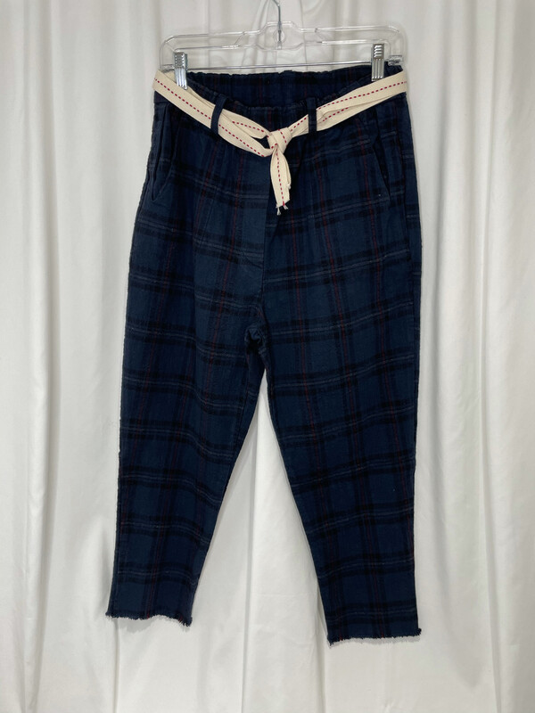 Baci Navy Print Relaxed Skinny Belted Elastic Waist Cotton Pant