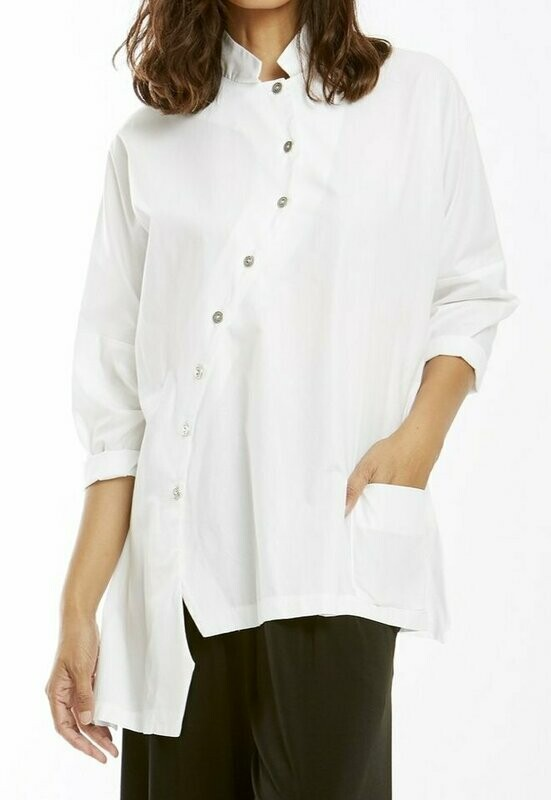 MSquare White Crisp Crooked Shirt
