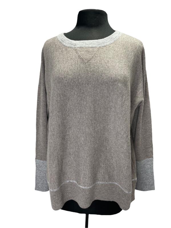 Kinross Cashmere Taupe Crewneck Sweater