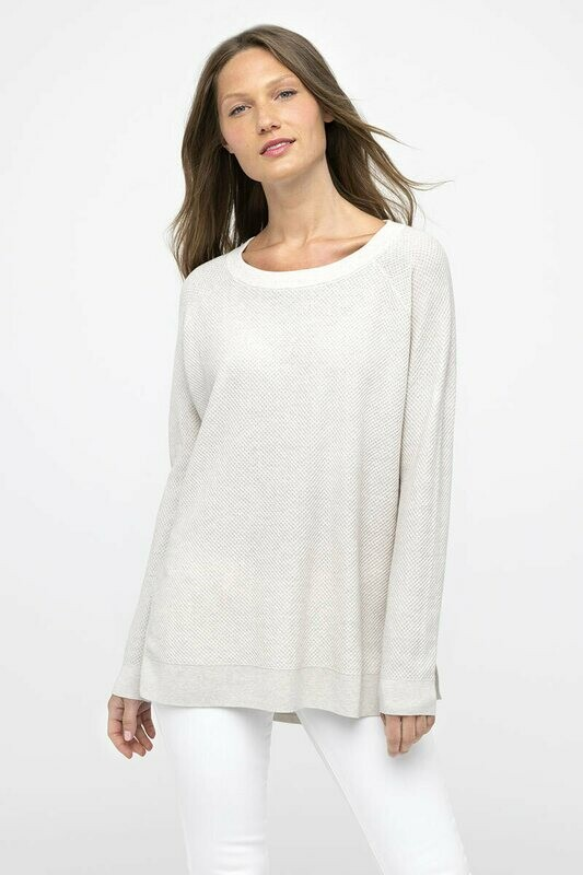 Kinross Cotton Cashmere Thermal Pullover in Desert