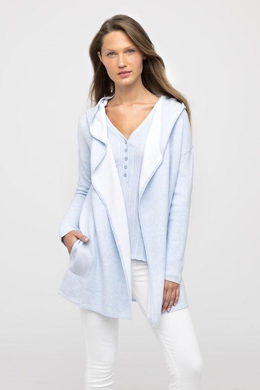 Kinross Reversible Cotton Cashmere Cardigan Hoody